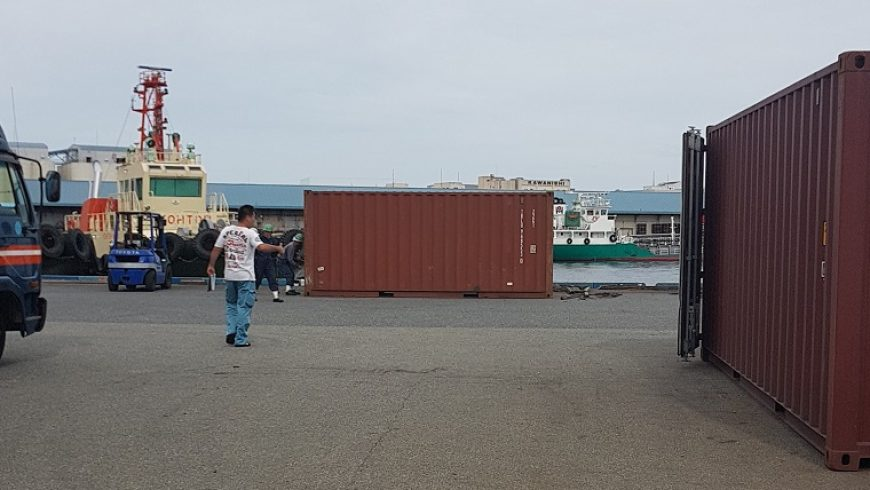 Shipping car to Japan Port and container unloading day